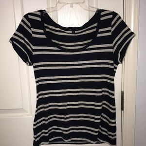 navy blue & gray striped shirt